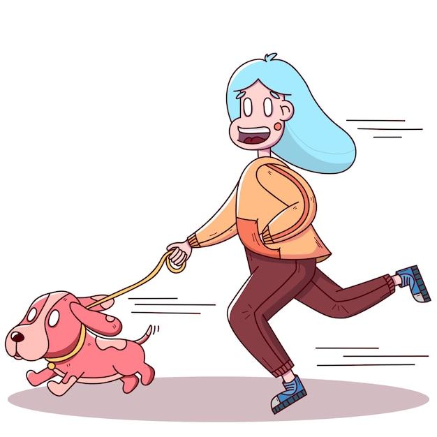 犬と一緒にジョギング手描き少女 Premiumベクター
