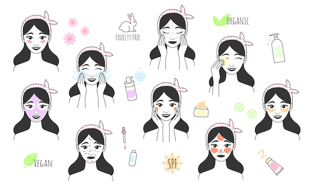 Hand drawn girl takes care of her face. skin care procedures. line style icon of daily beauty treatments. skin care, acne treatment, washes makeup, facial massage. Premium Vector