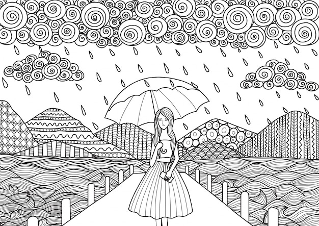 Hand drawn girl under the rain Free Vector