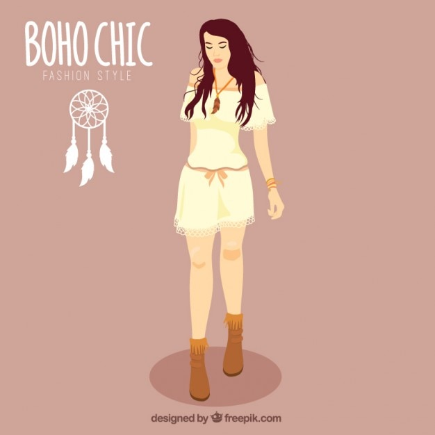 Hand drawn girl wearing boho chic clothes