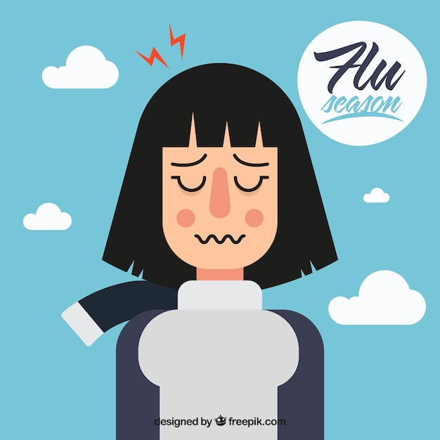 Hand drawn girl with flu symptoms Free Vector