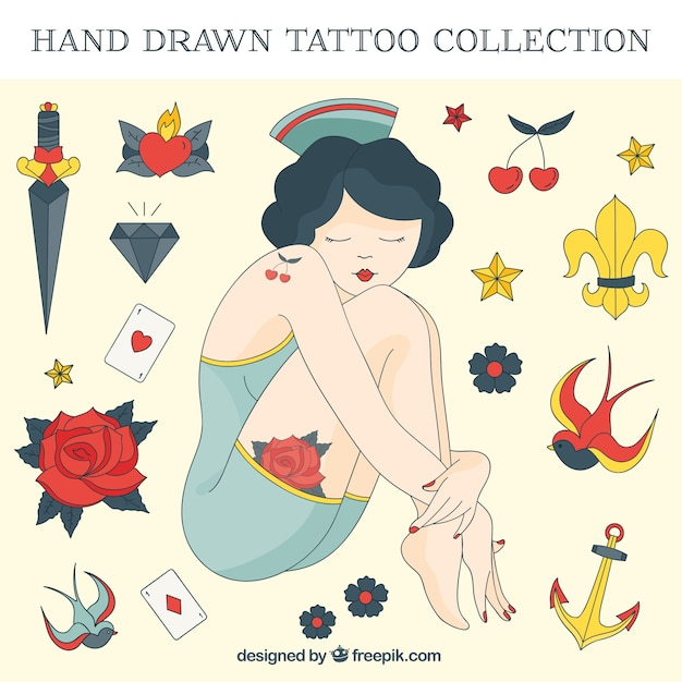 Hand drawn girl with sailor tattoos set Free Vector