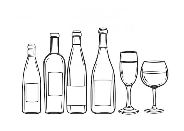 Ручной обращается стеклянные бутылки и бокалы с вином Premium векторы
