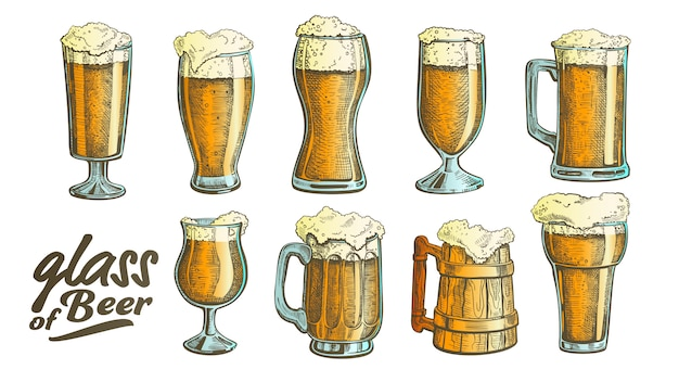 Hand drawn glass color foam bubble beer set Premium Vector