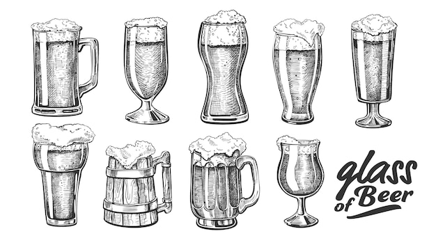 Hand drawn glass with foam bubble beer set Premium Vector