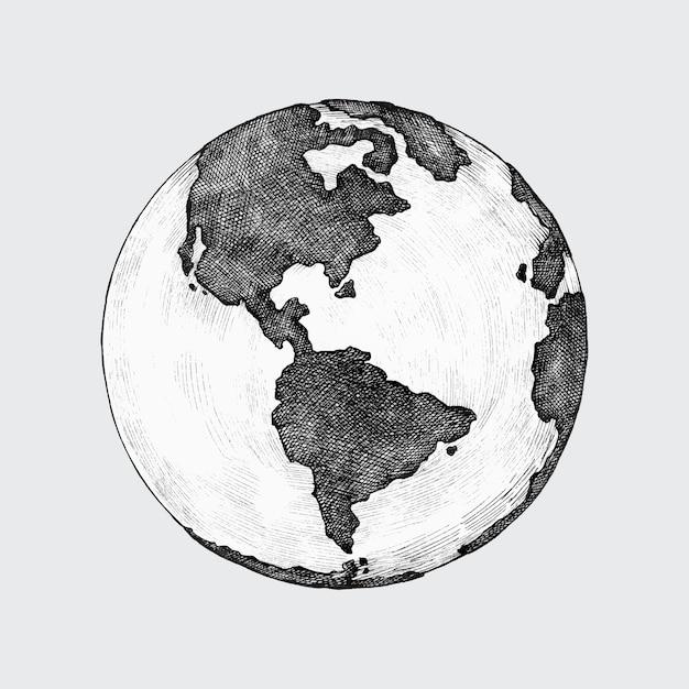 Hand-drawn globe illustration Premium Vector