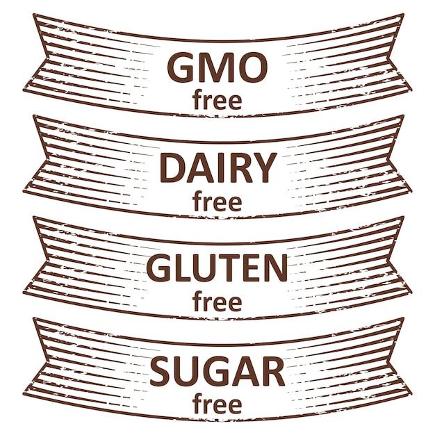 Hand drawn gluten free, sugar free, dairy free, gmo free ribbon labels tags design Premium Vector