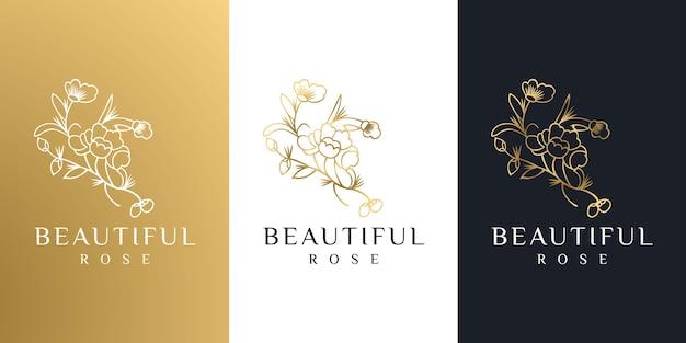 손으로 그린 금 여성의 아름다움과 꽃 식물 로고 프리미엄 벡터
