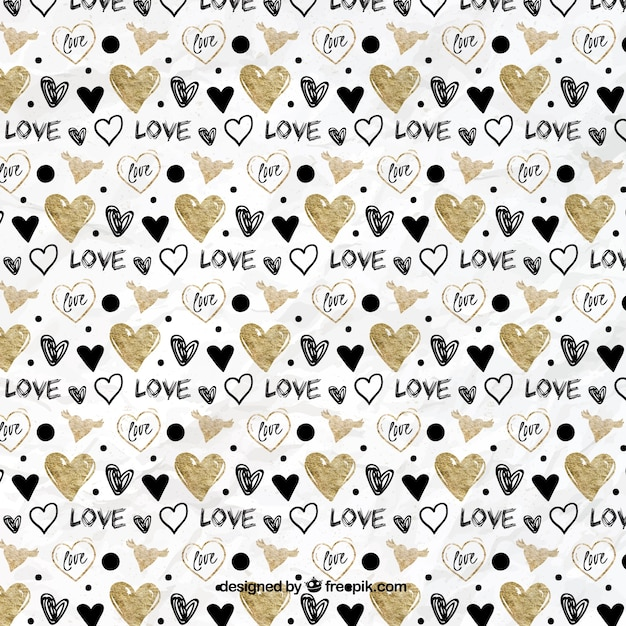 Hand drawn golden and black hearts pattern Free Vector