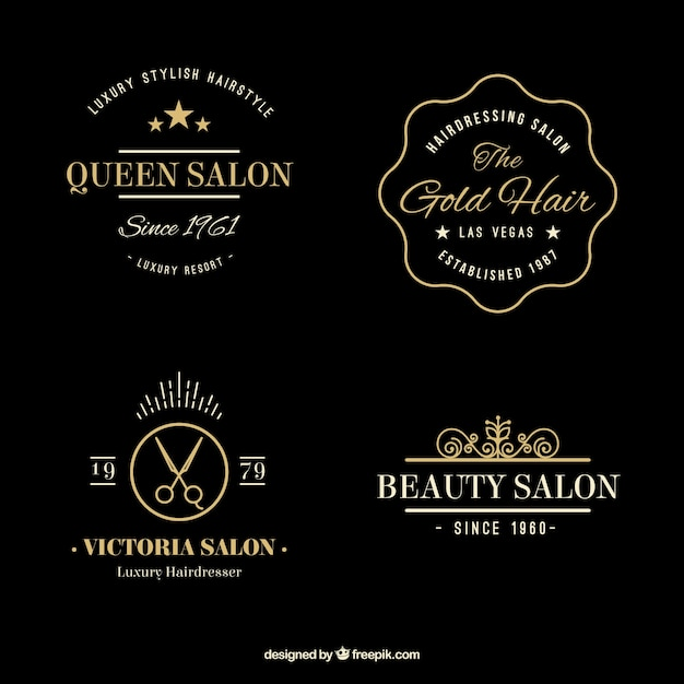 hand drawn golden elegant hairdressing logos vector free