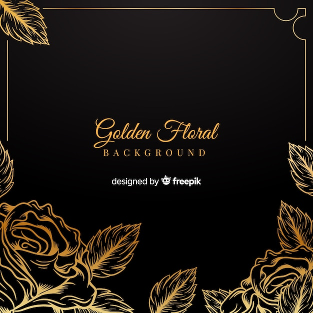 Hand drawn golden floral background Free Vector