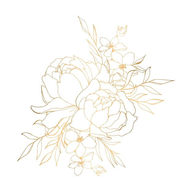 Hand drawn golden floral illustration with peonies Premium Vector