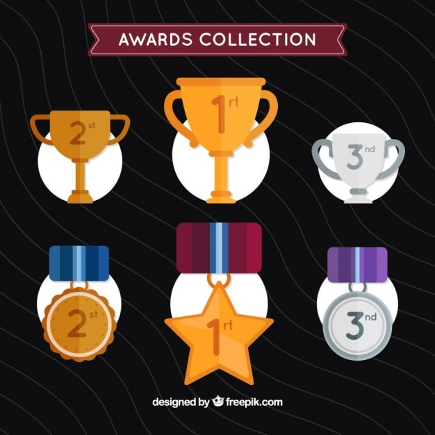 Hand drawn golden and silver awards set Free Vector