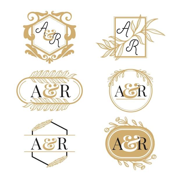Набор рисованной золотой свадебной монограммы с логотипом Бесплатные векторы