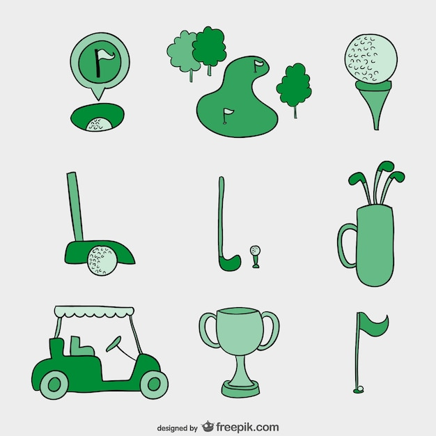Hand drawn golf vectors Free Vector