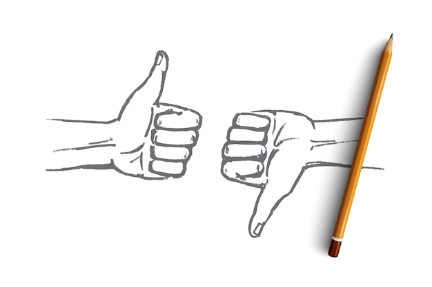 Hand drawn good or bad concept sketch with pencil over it Premium Vector