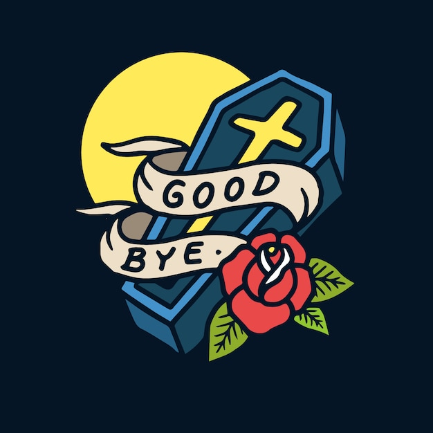 Hand drawn good bye sign coffin old school tattoo illustration Premium Vector