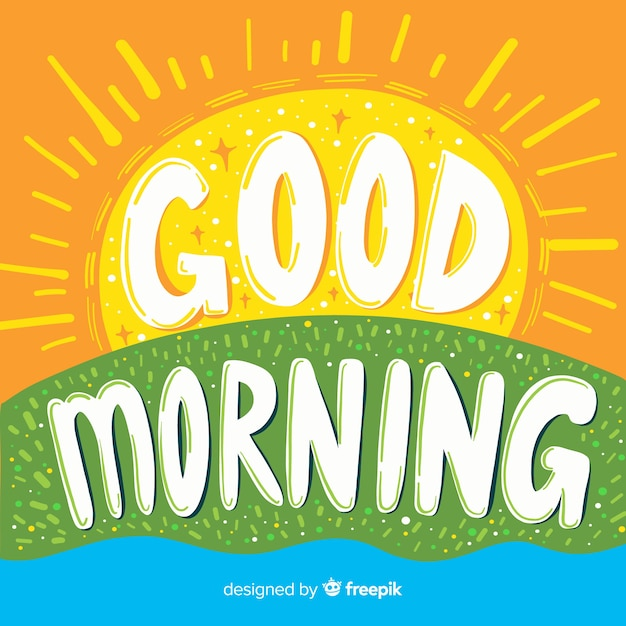 Hand drawn good morning lettering background Free Vector
