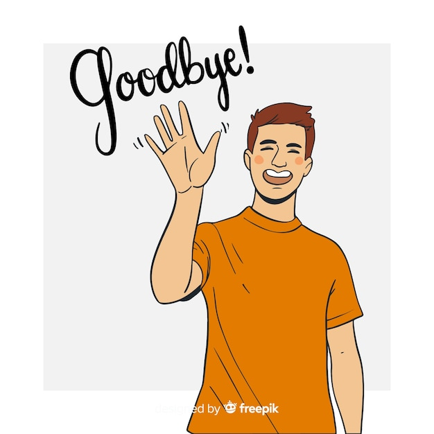 Hand drawn goodbye waving background Free Vector