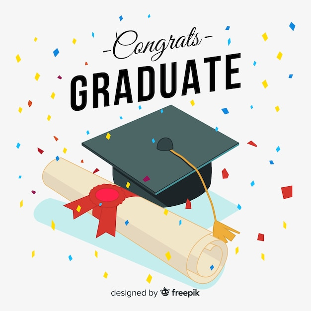 Hand drawn graduation cap and diploma Free Vector