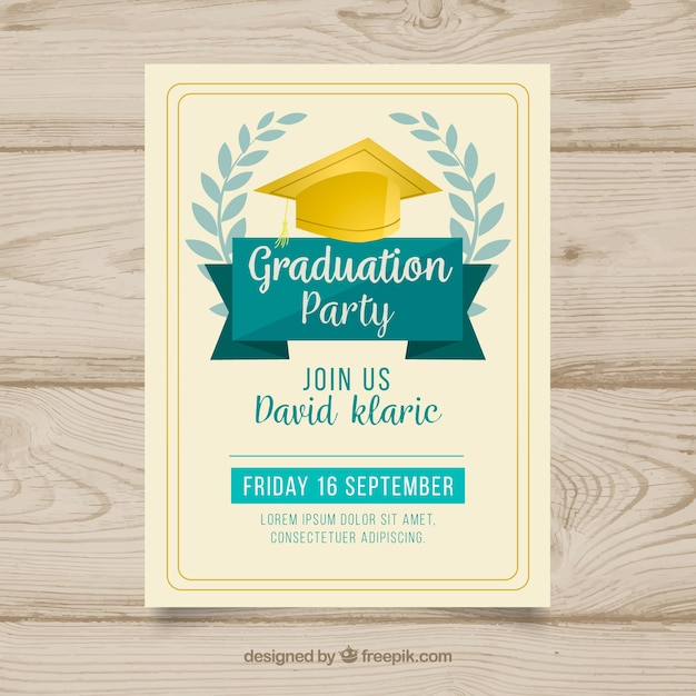 Hand drawn graduation party invitation Free Vector