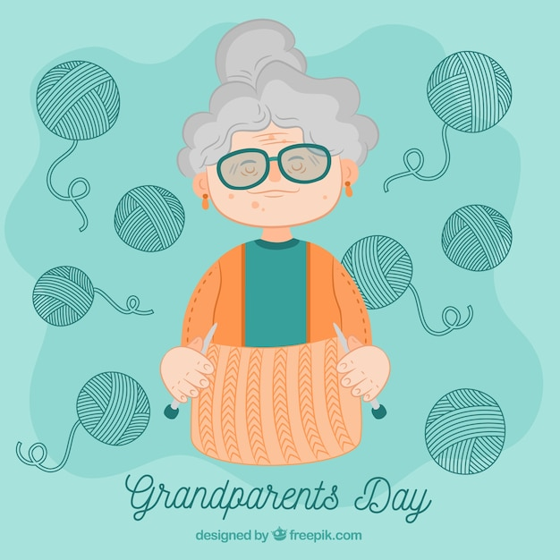 Рисованной бабушки фон с шерстяными пучками Premium векторы