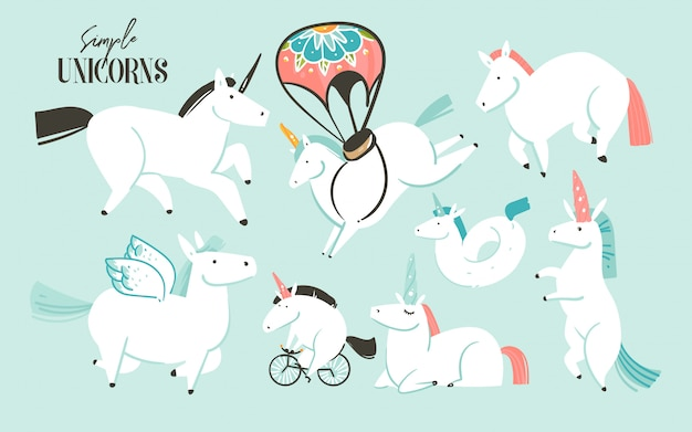 Hand drawn   graphic creative cartoon illustrations art collection set with white unicorns,pony and pegasus isolated Premium Vector