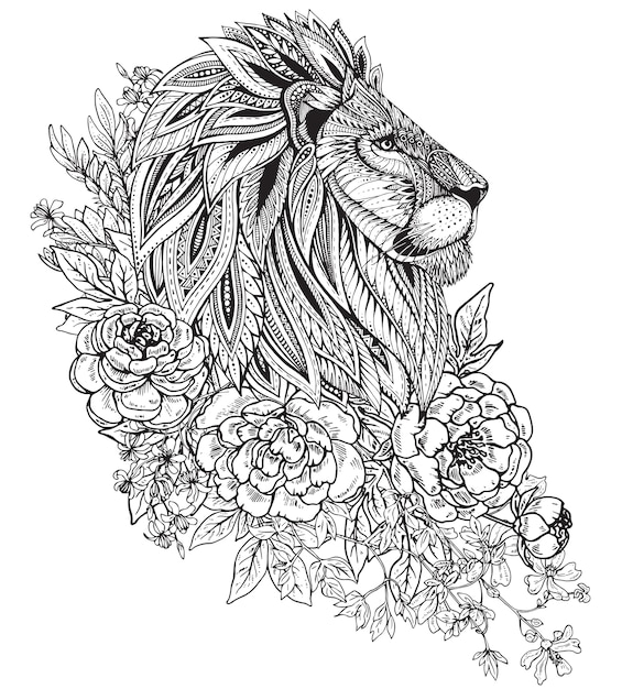 エスニック花柄落書きパターンでライオンの描かれたグラフィックの華やかな頭を手します。 Premiumベクター