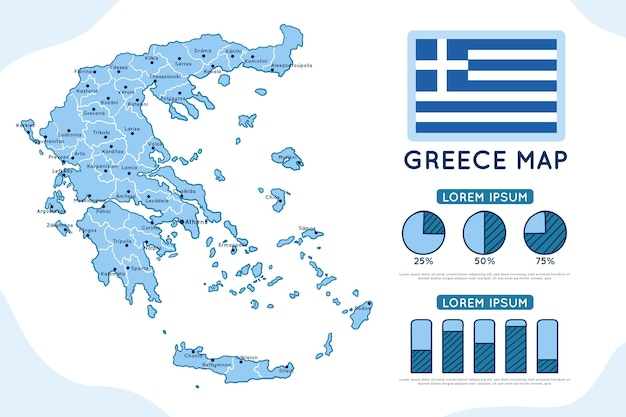Disegnata a mano grecia mappa infografica Vettore gratuito