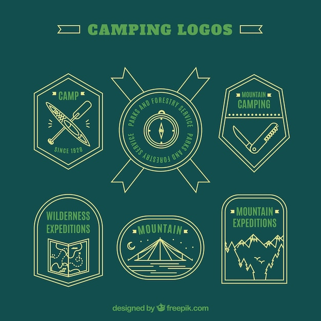 Hand drawn green adventure logos