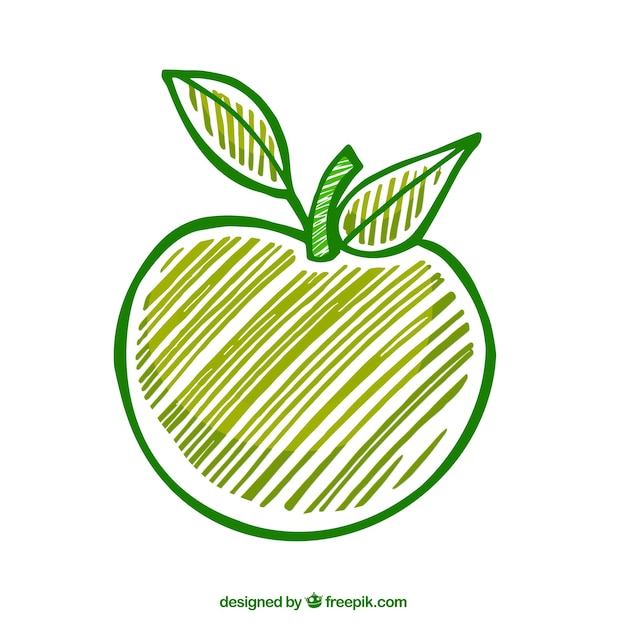 손으로 그린 그린 애플 프리미엄 벡터