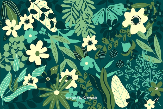 Hand drawn green floral background Free Vector