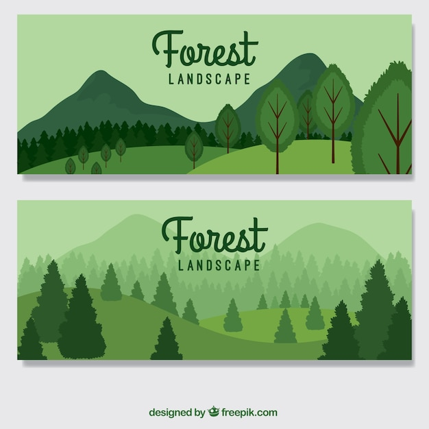 Hand drawn green forest banners Premium Vector