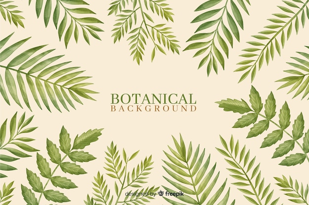 Hand drawn green leaves background Free Vector