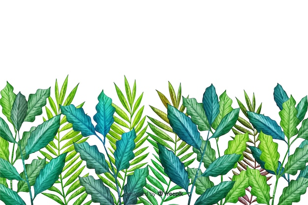 Hand drawn green leaves line Free Vector