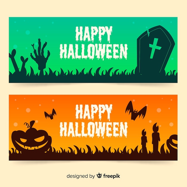 Hand drawn green and orange halloween banners Free Vector