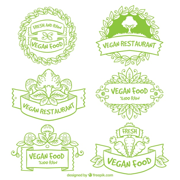 Hand drawn green vegan restaurant badges