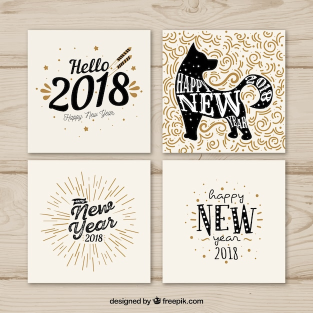 Hand drawn greeting cards Free Vector