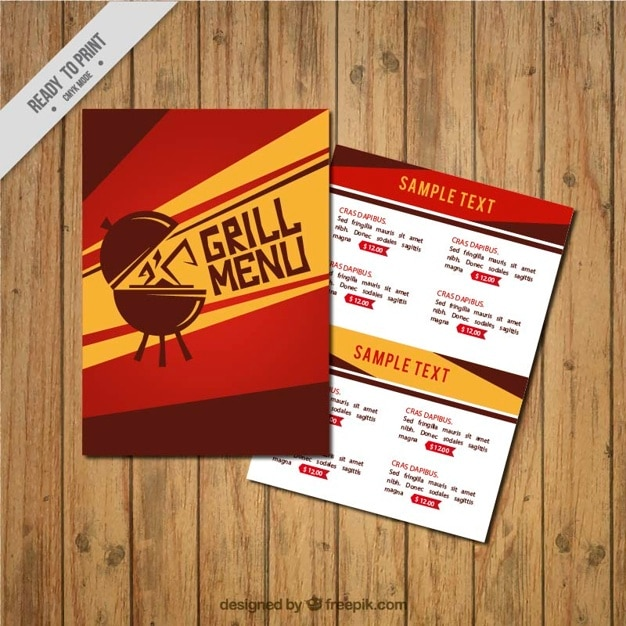 hand drawn grill menu template vector free download