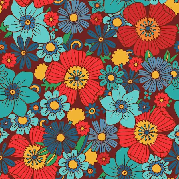 手描きのグルーヴィーな花柄 無料ベクター