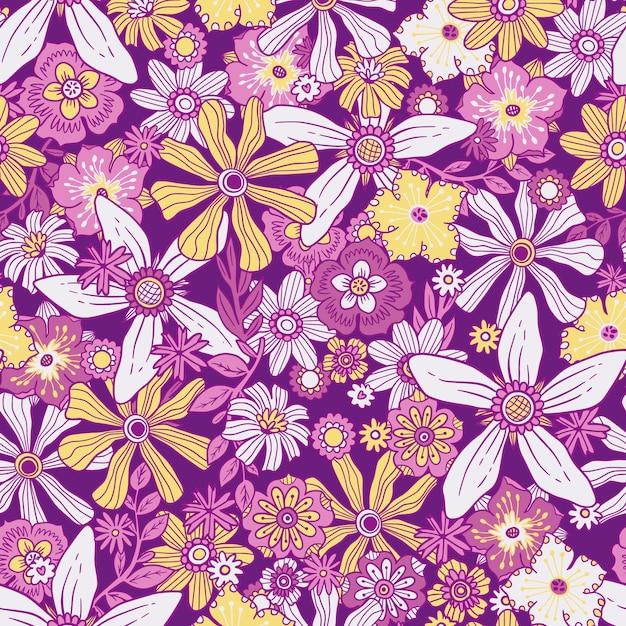 Motivo floreale groovy disegnato a mano Vettore gratuito