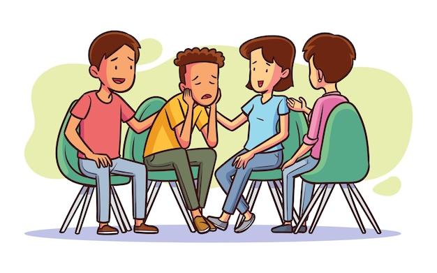 Нарисованная рукой иллюстрация групповой терапии Premium векторы