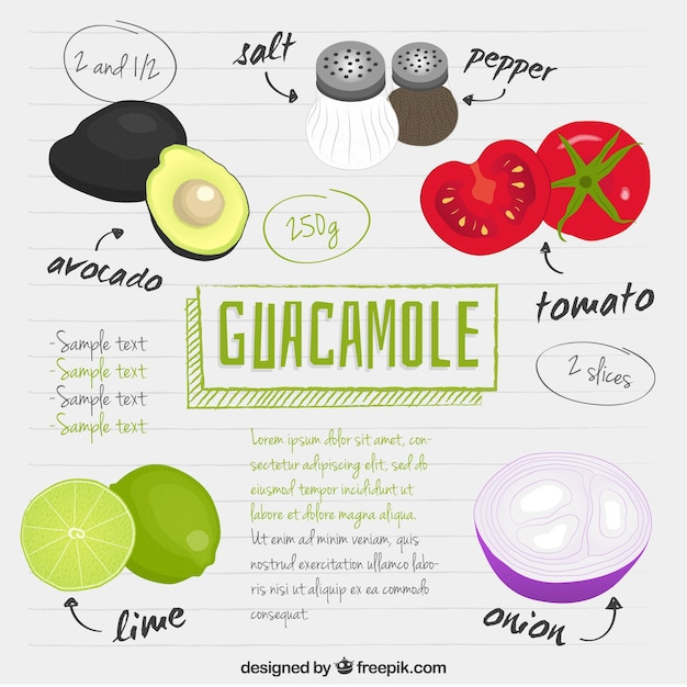 Hand drawn guacamole recipe Free Vector