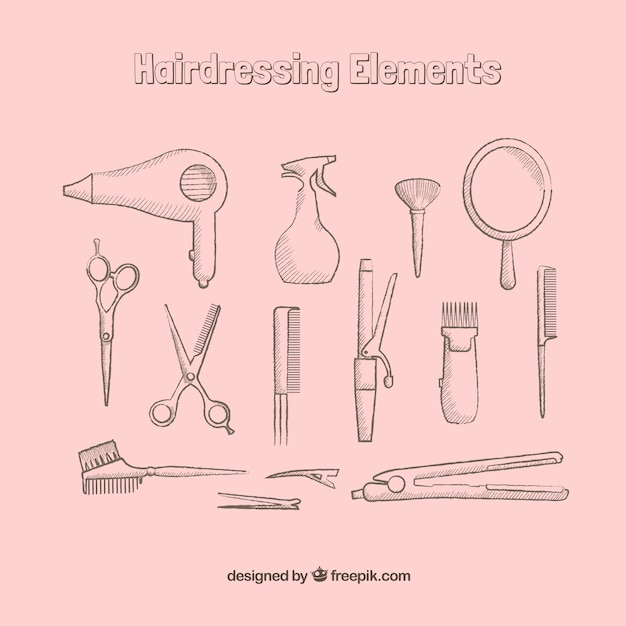 Hand drawn hairdressing elements Free Vector