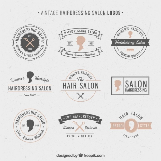 hand drawn hairdressing salon logos vector free download