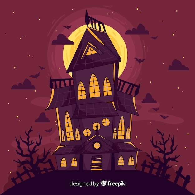 Hand drawn halloween abandoned house Vector | Free Download