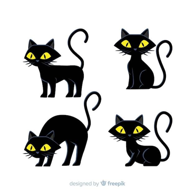 Hand drawn halloween back cat Free Vector