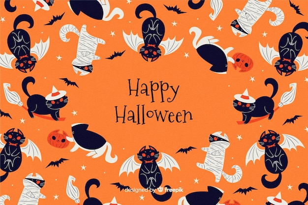 Hand drawn halloween background with black cats Free Vector