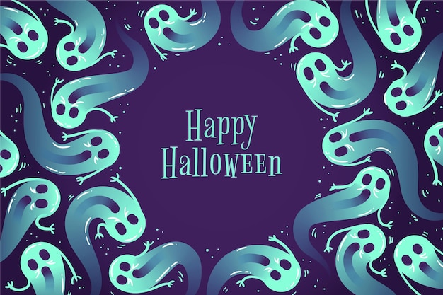 Hand drawn halloween background with ghosts Free Vector
