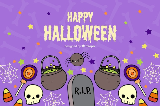 Hand drawn halloween background with tombstones Free Vector